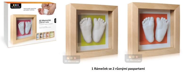3D Memories 3D Memories odlévací sada baby pro 3D odlitek ručiček a nožiček - hluboký rámeček