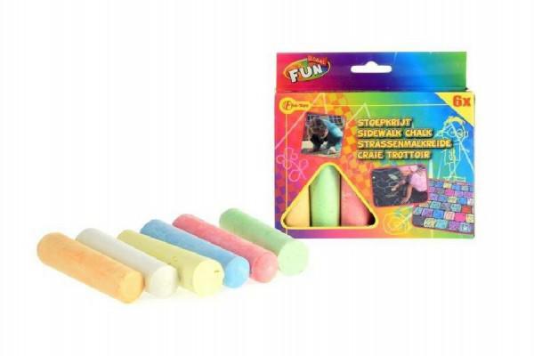 Křídy barevné chodníkové 10,5x2,5x2,2cm 6ks v krabičce