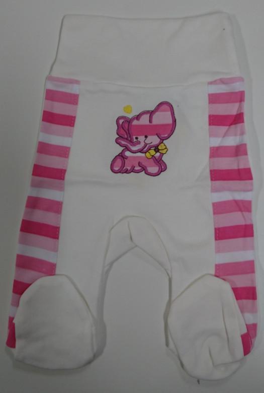Polodupačky s výšivkou sloníka smetanovo-růžové 100% bavlna vel. 56