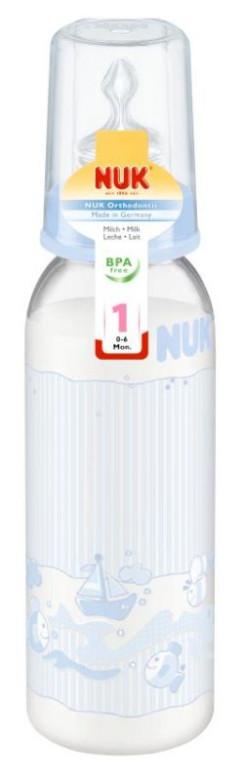 Kojenecká láhev modrá 240 ml NUK, silikonová savička