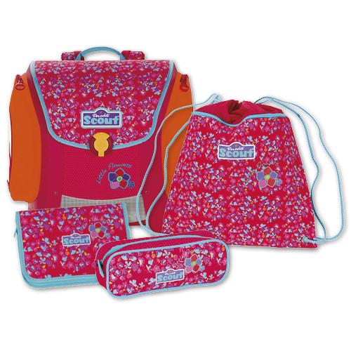 Školní set Scout - 4-dílný - barevné květiny