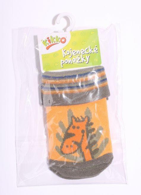 23ead59529c Kojenecké ponožky bavlna KIKKO 6-12 m ORANŽOVO-HNĚDÁ ŽIRAFKA 560 ...