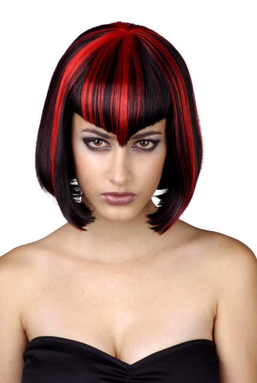 Paruka černo/červená - mikádo