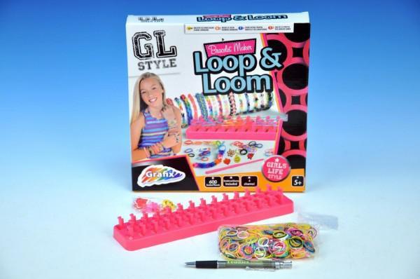 Udělej si náramek - stav na gumičky + 600 gumiček + ozdoby v krabici