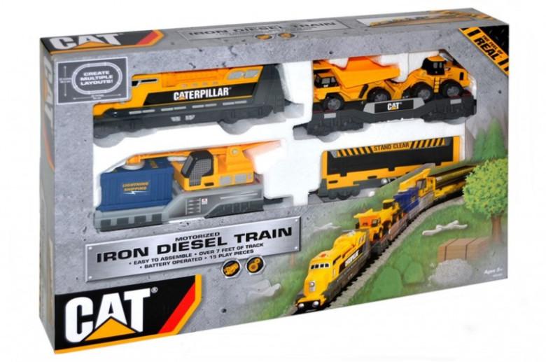 Vlak nákladní CAT plast lokomotiva + 3 vagóny + dráha