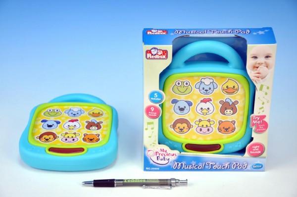 Tablet/Telefon zvířátka plast 15cm dotykový hrající na baterie