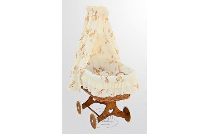 Proutěný koš na miminko s nebesy Žirafa - žlutý
