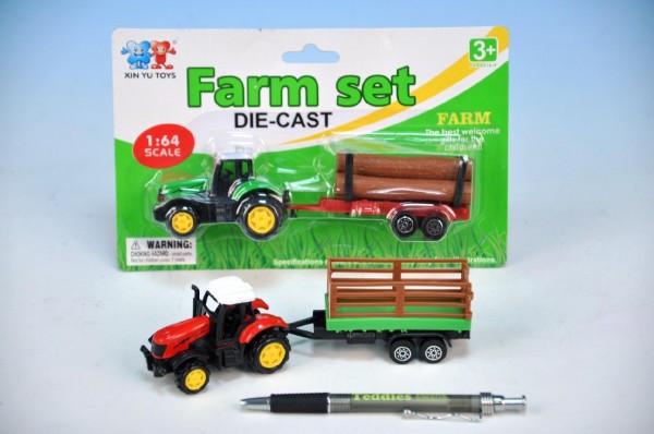 Traktor kov s vlečkou 16cm