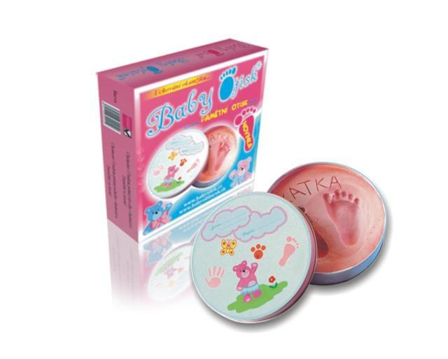 Baby otisk plechovka růžová