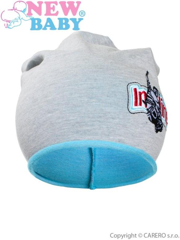 Podzimní dětská čepička New Baby In-line šedo-tyrkysová vel. 110