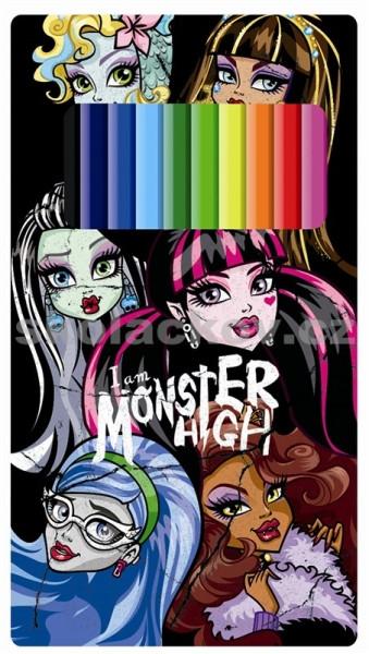 Pastelky v plechové krabičce 12ks Monster High nezobra