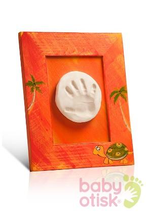 BABY OTISK – sada pro otisk s ručně malovaným rámkem – oranžová