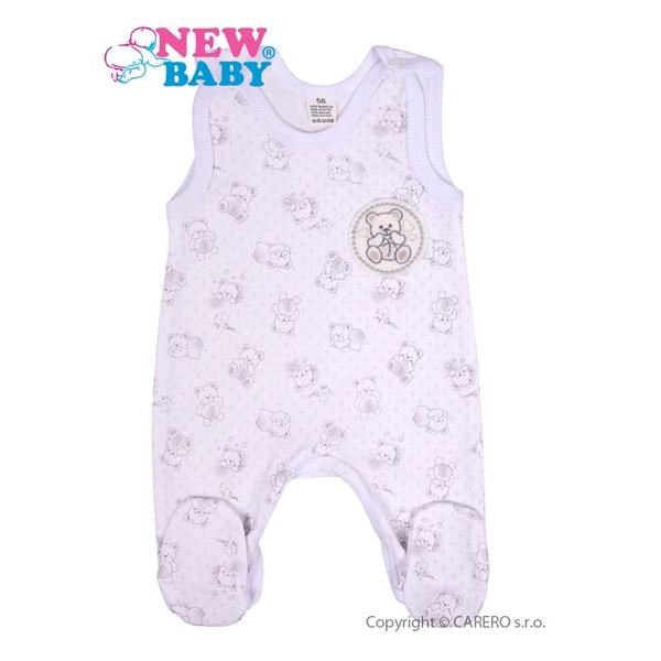 Kojenecké dupačky New Baby Roztomilý medvídek BÍLÉ vel.68