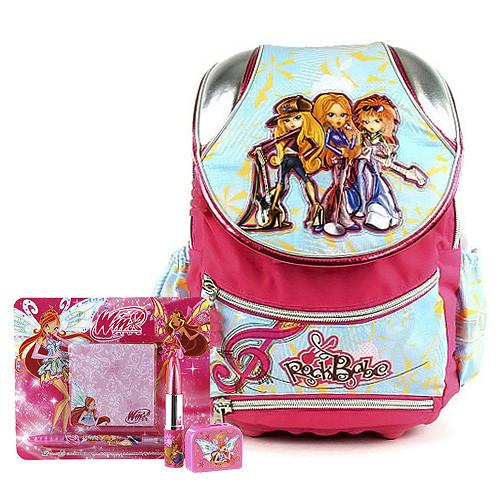 Školní batoh Cool set - 4-dílná sada - batoh Cool RockBabe růžovo-modrý + doplňky Winx nez