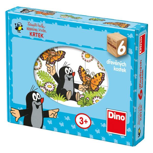 Kostky kubus Veselý krtek 6 kostek Dino