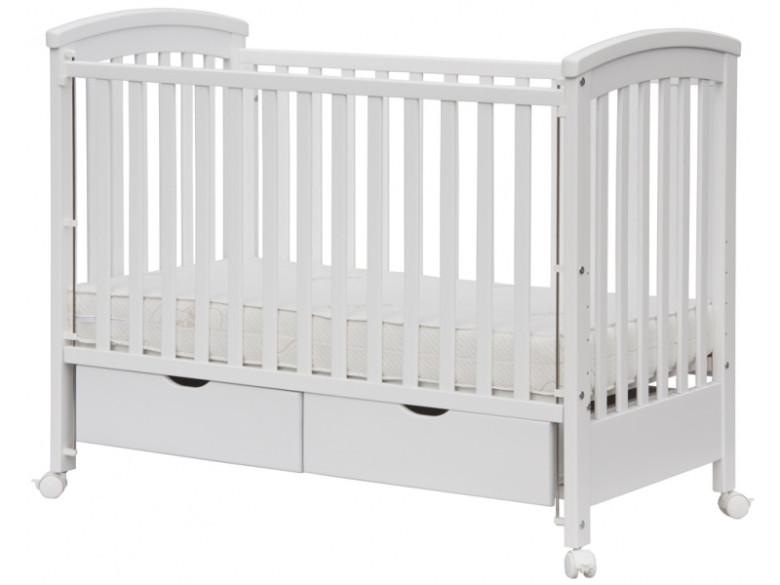 Dětská postýlka Scarlett Nina se dvěmi šuplíky - bílá - 120 x 60 cm