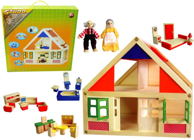 Studo Wood Dřevěný domeček s nábytkem, 38x22x35,5cm