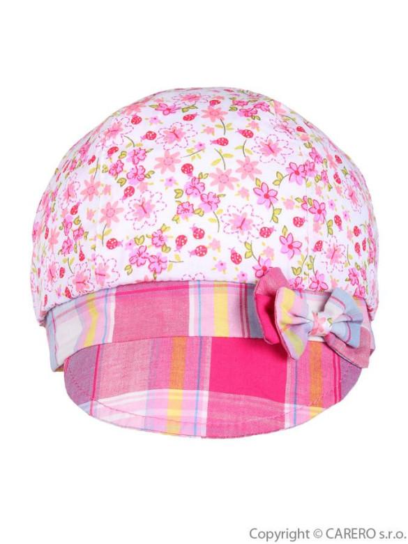 5a1fccf57a7 Letní dětská čepička-baret Klara růžová kostka vel. 92