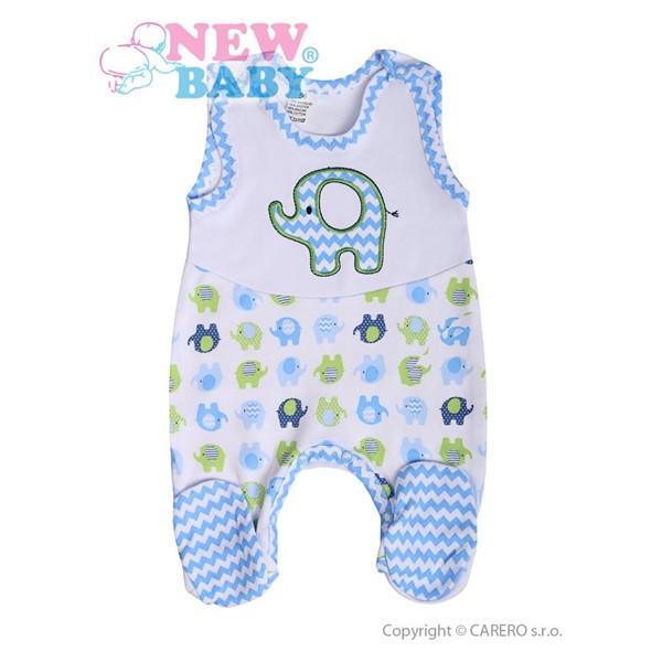 Kojenecké dupačky New Baby Sloník bílo-modré vel. 56