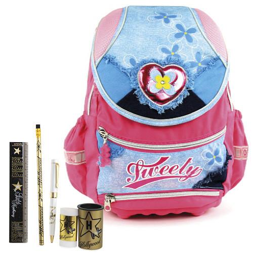 Školní batoh Cool set - 6dílná sada - batoh Cool Tweety srdce a školní pomůcky Hollywood