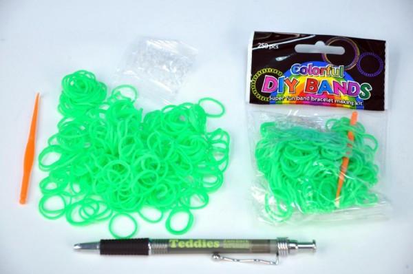 Udělej si svůj náramek - gumičky 250ks světle zelené s doplňky