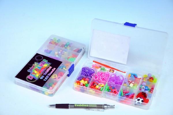 Udělej si svůj náramek - gumičky 90ks + ozdobné korálky 122ks