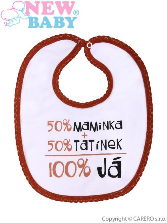Bavlněný dětský bryndáček s nápisem 50% maminka 50% tatínek 100 % já HNĚDÝ LEM