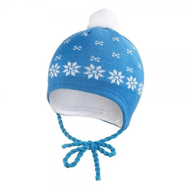 Čepice PLETENÁ zavazovací NORSKÝ VZOR Outlast® BAMBULE modrá ... 67480d81a0