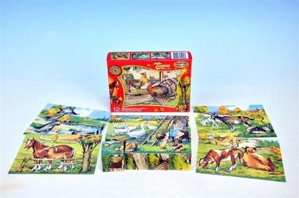 Dřevěné obrázkové kostky 12 ks - Husy